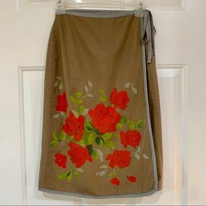 Urban Outfitters Cotton Wrap Skirt Roses Bulldog S